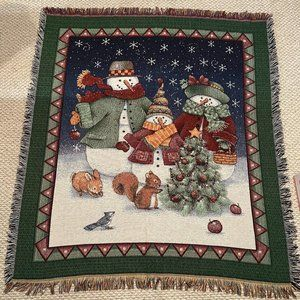 Woven Winter Holiday Snowman Throw Blanket 57 x 51